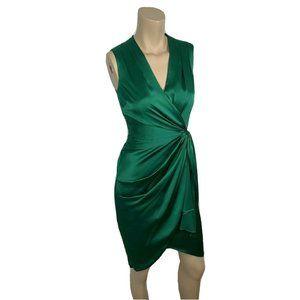 COAST Dress 4 Emerald Green Satin Twist Front